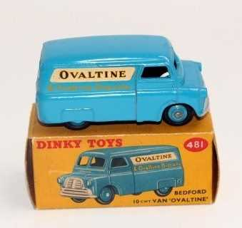 Dinky Toys No 481 Ovaltine 10cwt delivery van in blue with matching blue hubs and Ovaltine livery - Image 2 of 2
