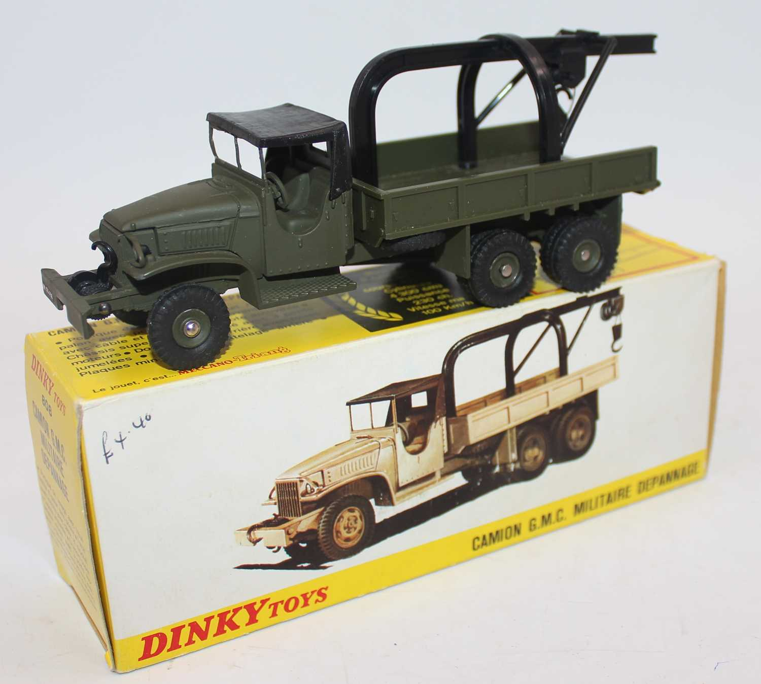 French Dinky 808 Military GMC Army Militaire Depannage. Example in matt olive green, near mint and