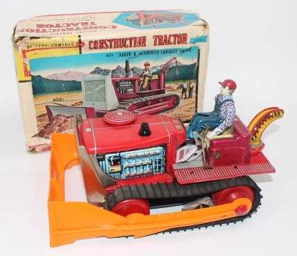 """TN Toys (Japan) tinplate """"Construction Tractor"""" - impressive battery-operated model is red, with"""
