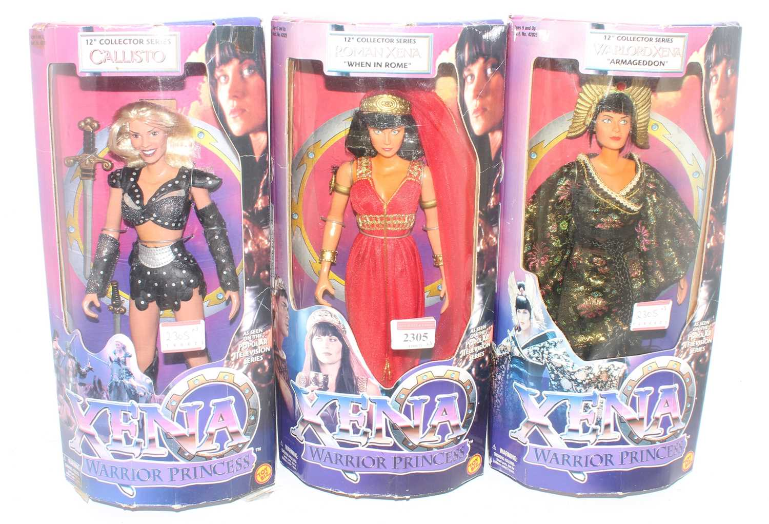 """A Toy Biz Xena Warrior Princess 12"""" collectors series action figure group, three boxed examples to"""