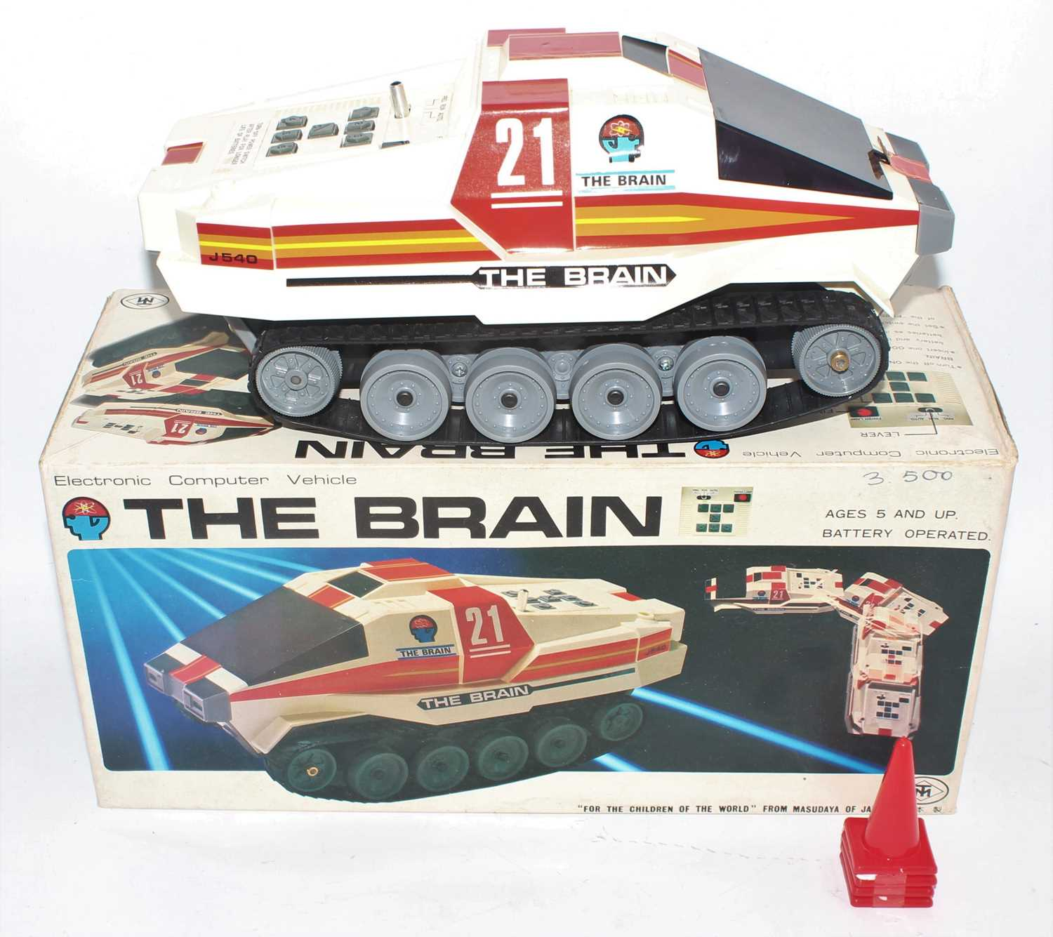 A modern Toys of Japan plastic and battery-operated model of the brain electronic computer