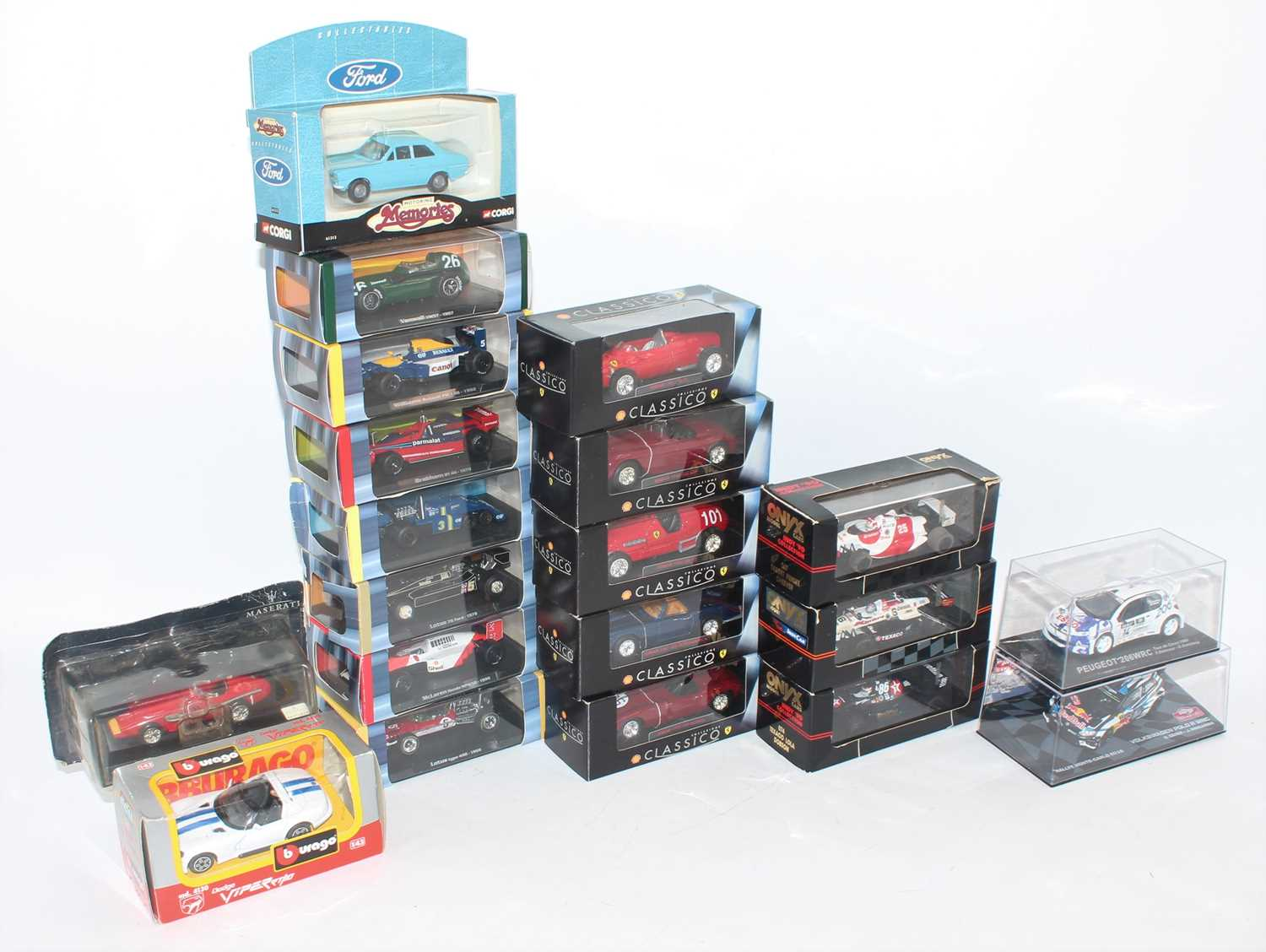 One tray containing a quantity of various of 1:43 diecast formula one racing cars and saloons, mixed