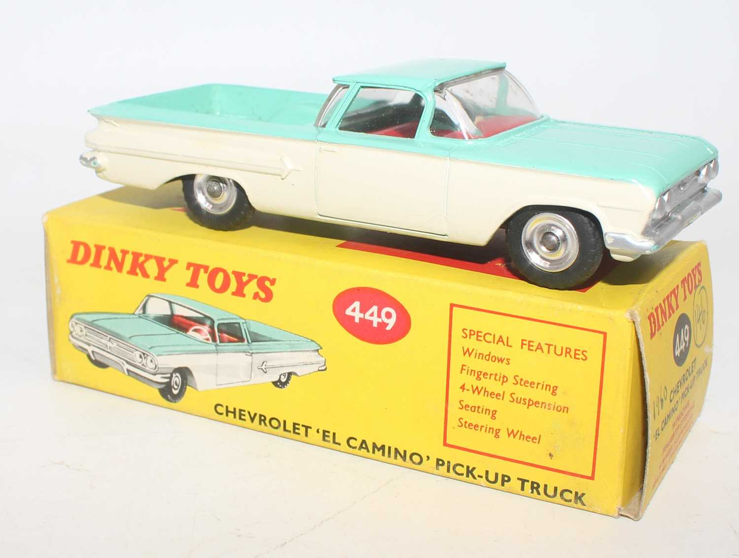 Dinky Toys No. 449 Chevrolet el Camino pickup truck comprising of turquoise and white body with - Image 2 of 2