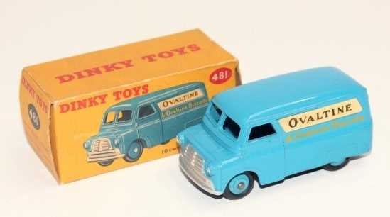 Dinky Toys No 481 Ovaltine 10cwt delivery van in blue with matching blue hubs and Ovaltine livery