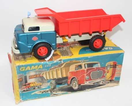 Gama No.298, tinplate and friction drive tipper truck, comprising of metallic blue cab, grey