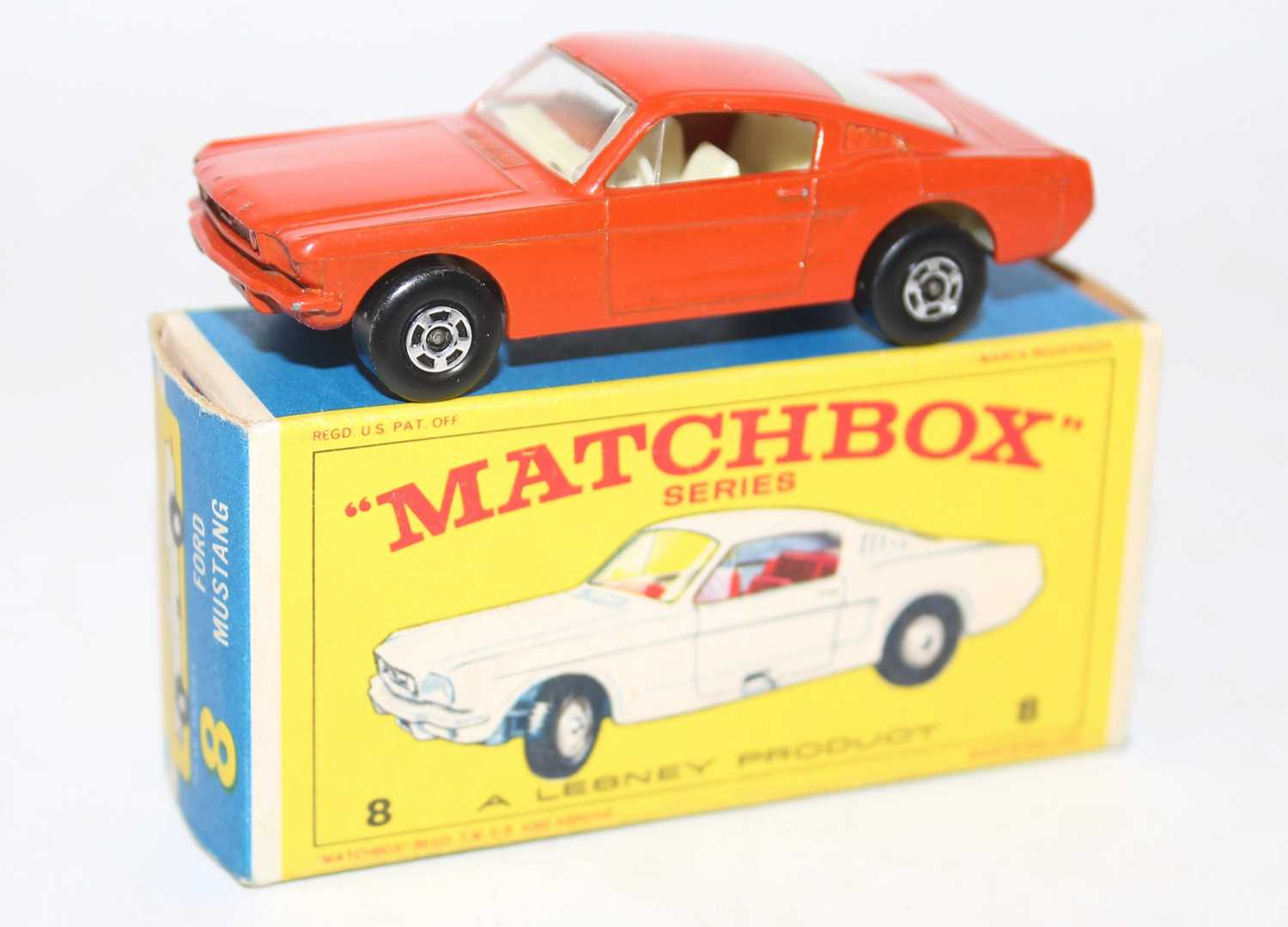 Matchbox No.8 Ford Mustang in orange-red with wide superfast wheels and white interior in a