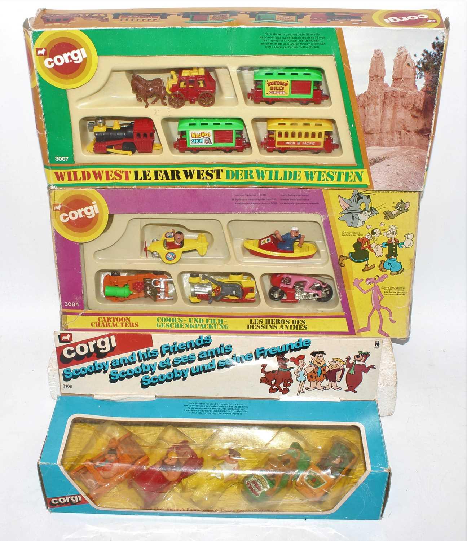 Three various boxed Corgi Juniors diecast gift sets to include No. 3084 Cartoon characters, 3018