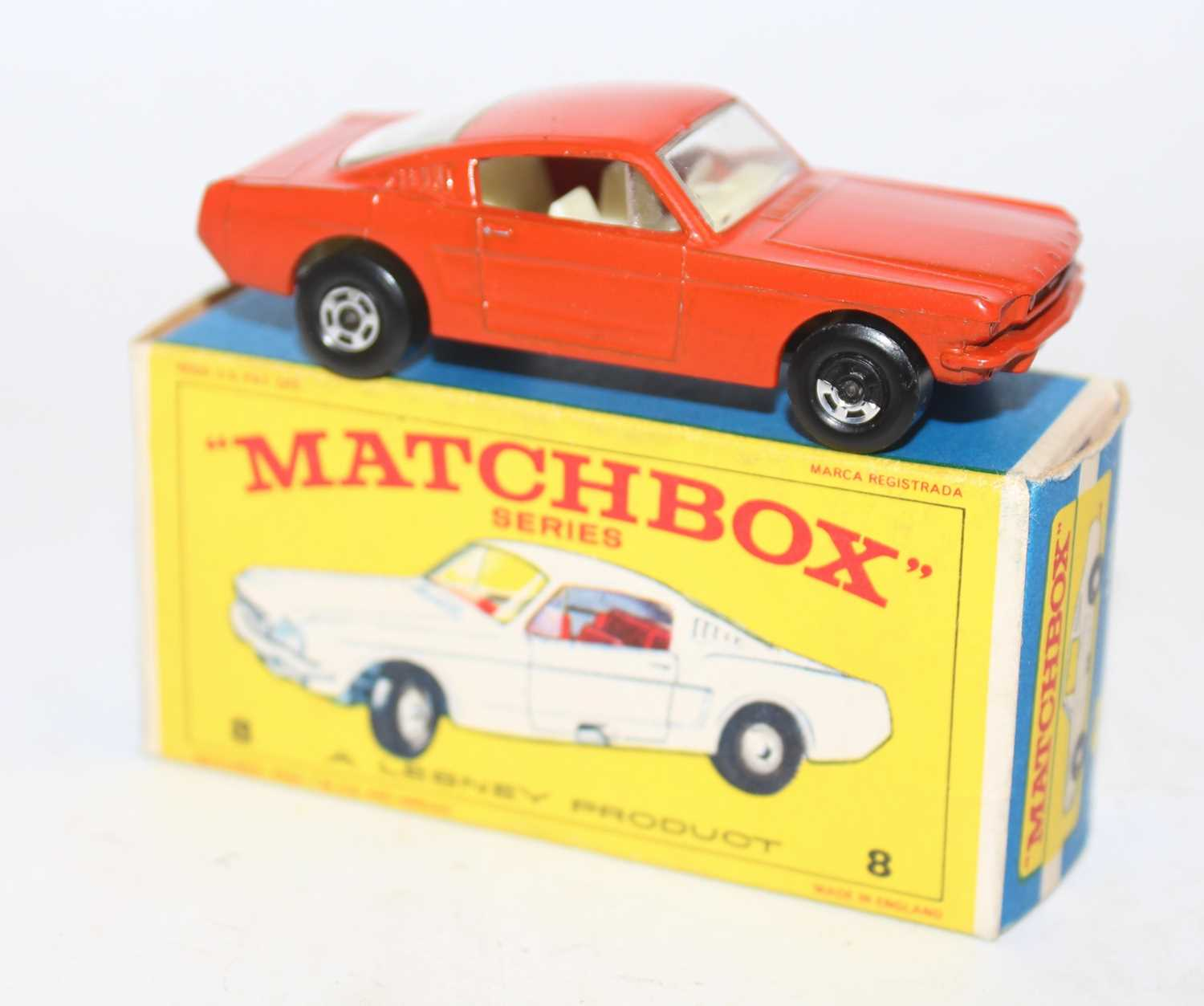 Matchbox No.8 Ford Mustang in orange-red with wide superfast wheels and white interior in a - Image 2 of 2