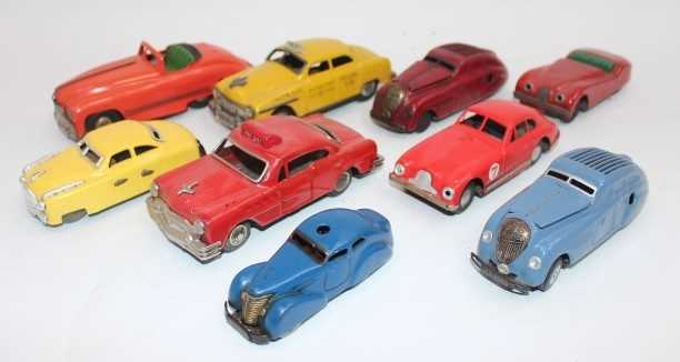 9 various loose tinplate saloons, to include Schuco, Bandai, Mini Models, and others, examples