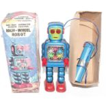 """KO (Japan) """"High-Wheel Robot"""", tinplate and plastic battery-operated issue with remote control unit,"""