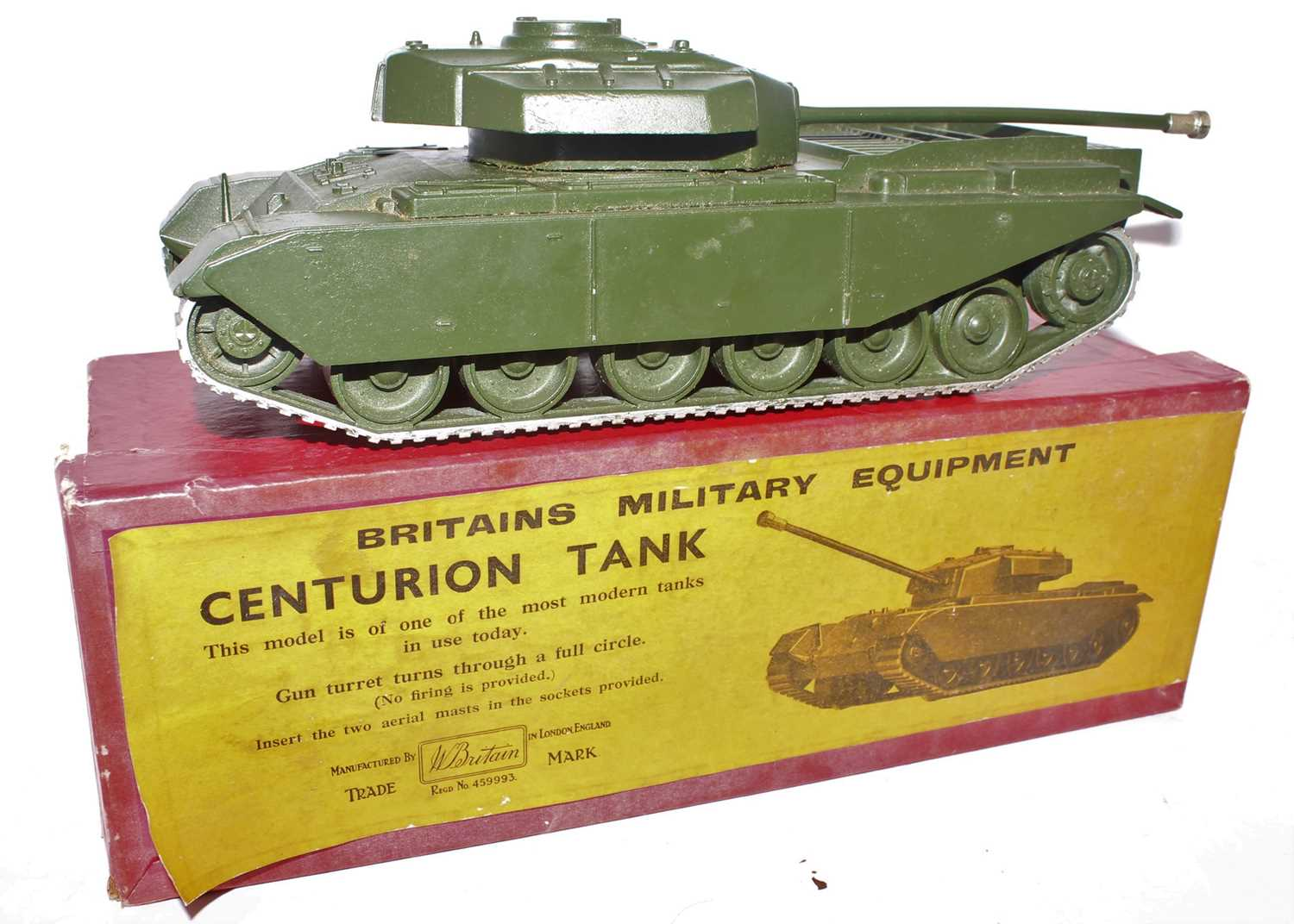 A Britains set No. 2150 Centurion tank comprising of military gloss green body with silver tracks, - Image 2 of 2