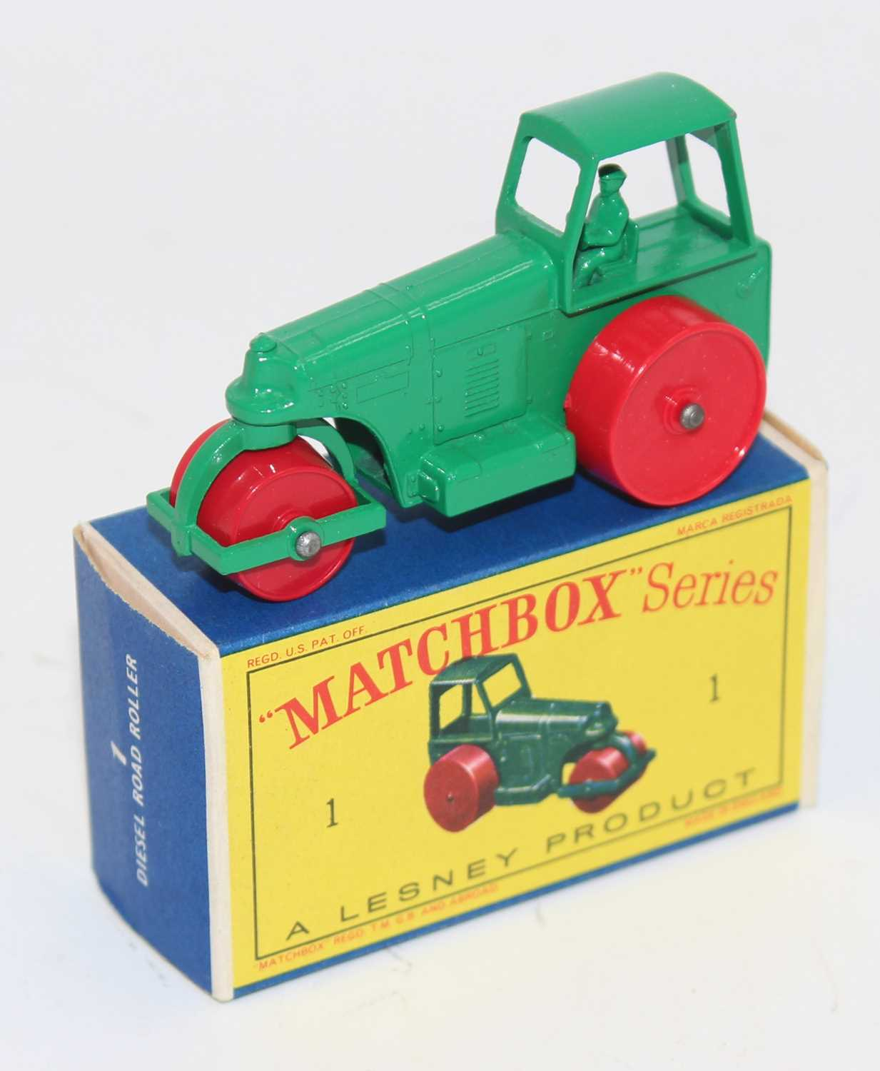 Matchbox, No1 Aveling Barford Diesel road roller, green complete with D box, superb (M-BNM)