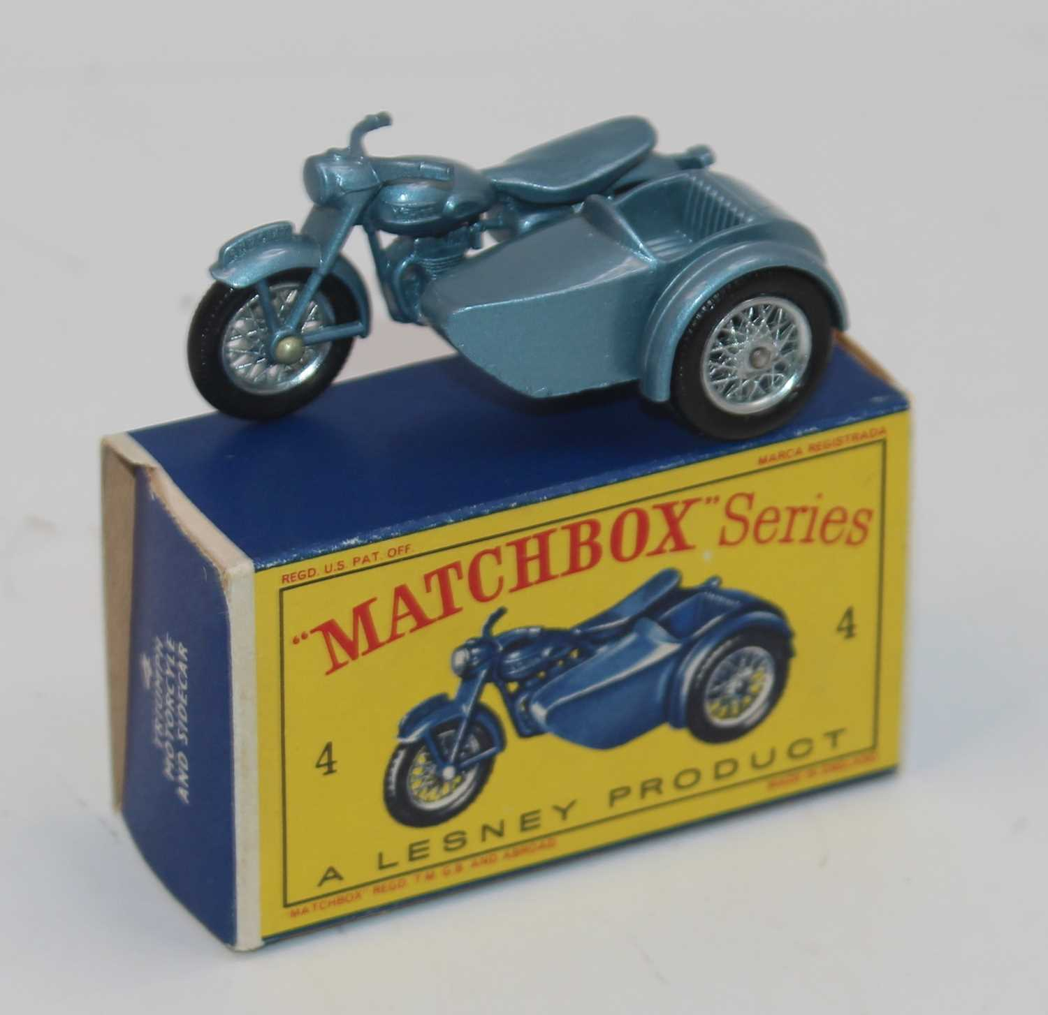 Matchbox 4c Triumph Motorcycle & Sidecar, metallic silver-blue body with wire wheels, mint in a