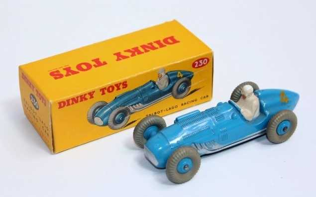 A Dinky Toys No. 230 Talbot Lago racing car in blue with blue hubs, and racing No. 4, with white