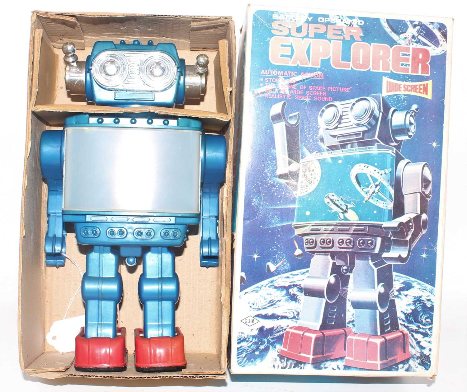 A Sunny Toys of Taiwan battery operated Super Explorer Action Robot comprising of plastic battery-