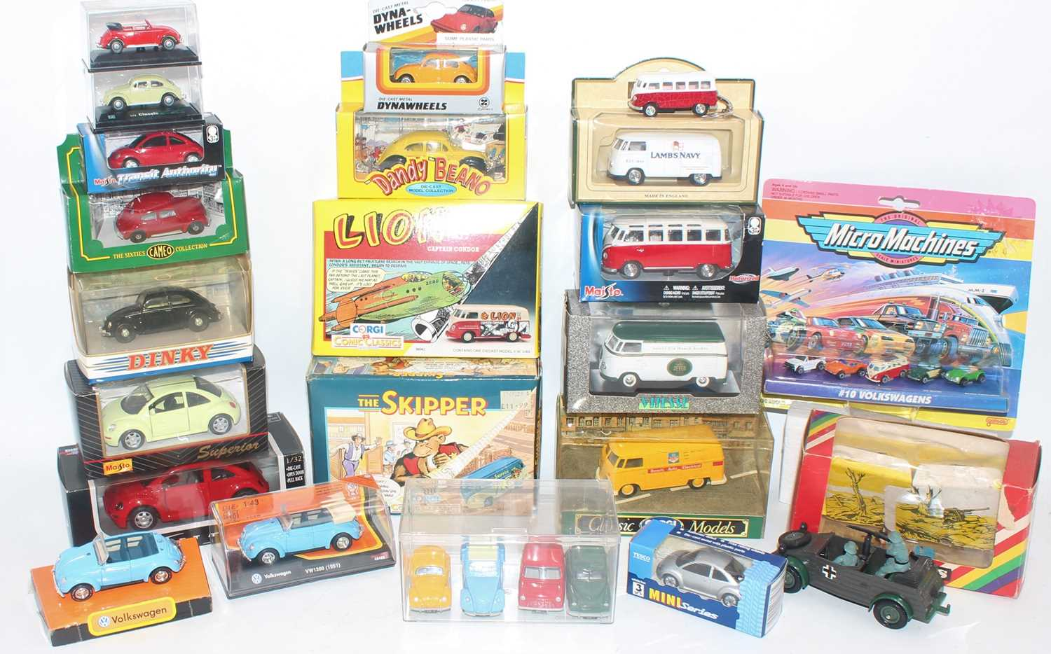 One tray containing a quantity of various boxed and loose mixed issue Volkswagen related diecasts to