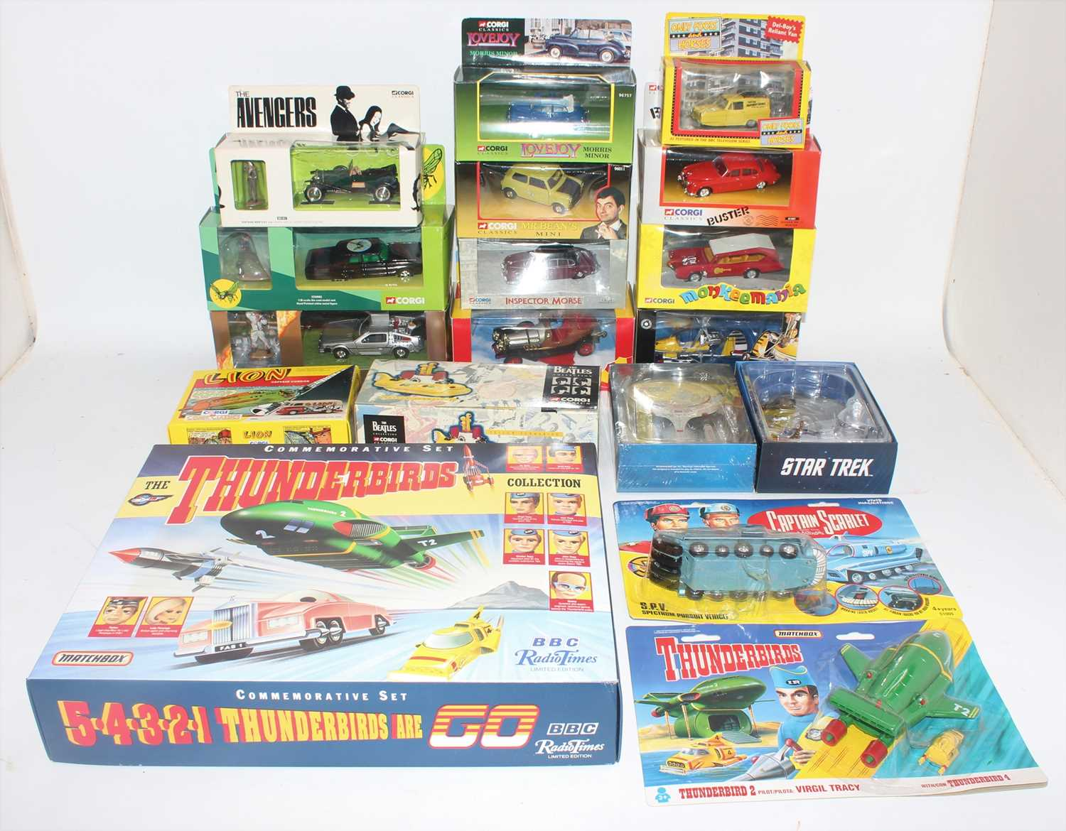 A collection of various TV related boxed diecasts and white metal action figures to include Only