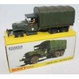 French Dinky Toys Camion 809 G.M.C. Militaire Bache. In olive green with U.S. Army livery and