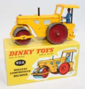 French Dinky Toys No.90A Richier Diesel Compressor road roller with yellow body with red hubs and
