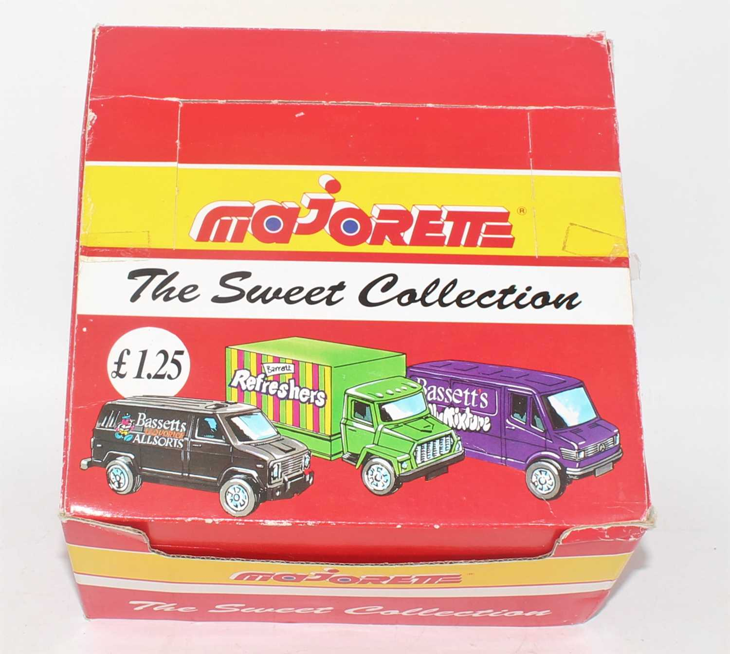 A Majorette The Sweet collection, all card counter top box, containing 21/24 various carded sweet