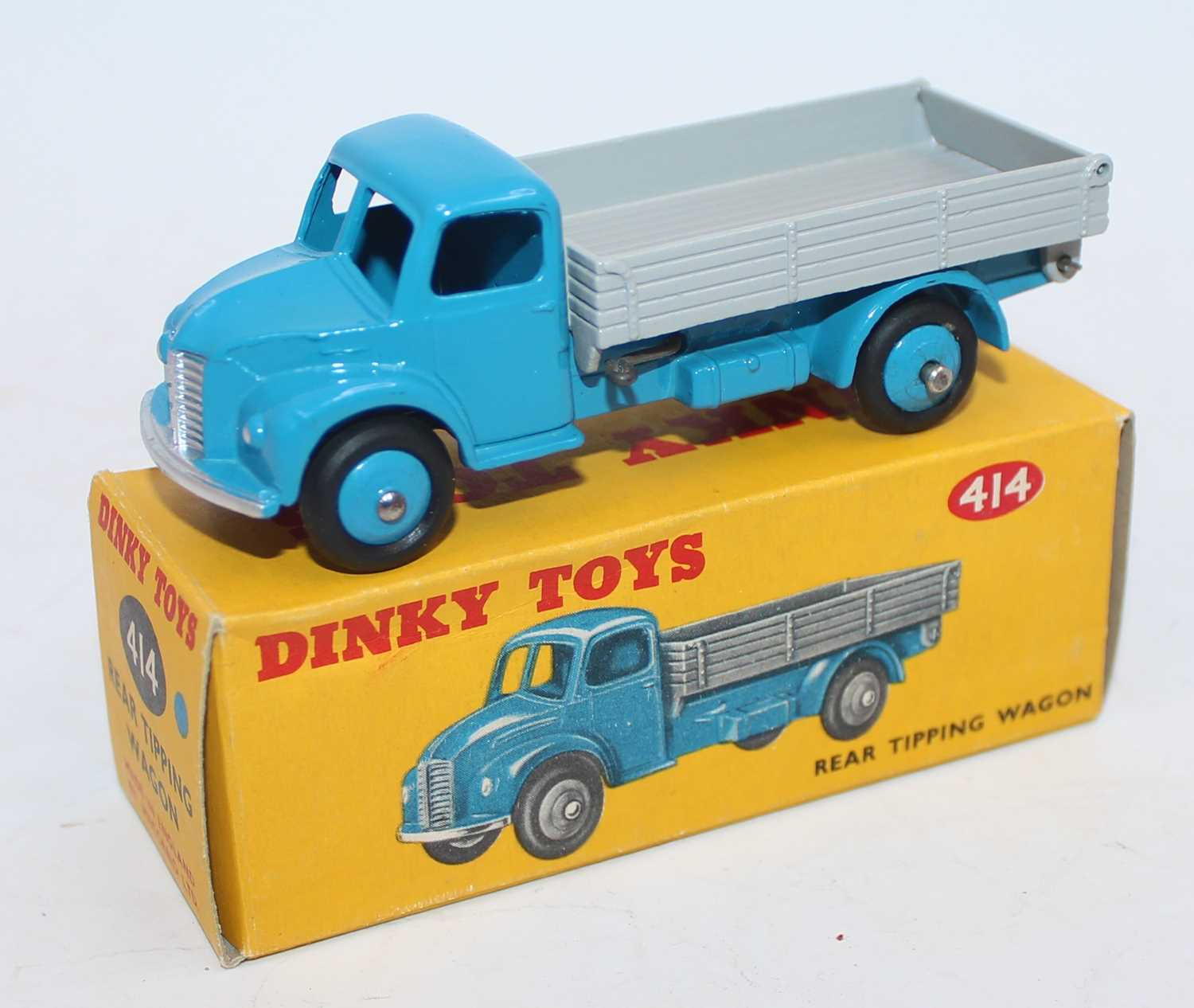 Dinky Toys No.414 Rear Tipping Wagon with light blue cab and chassis with grey back and matching