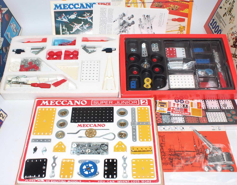 Four Meccano sets:- motorised crane set; construction set 1000, super junior set no. 2 and space - Image 2 of 3