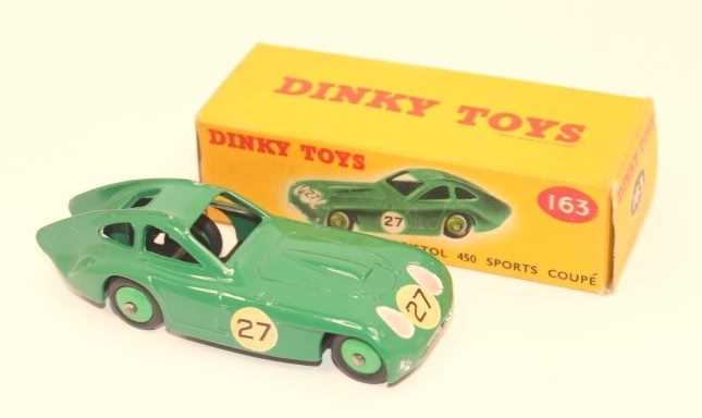 A Dinky Toys No. 163 Bristol 450 Sports Coupe, green body with racing No. 27 and mid-green hubs, - Image 2 of 3