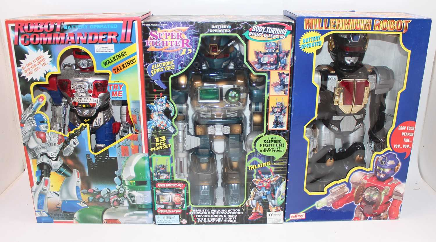 Six various boxed modern release plastic and battery operated various robots, to include a super - Image 2 of 3