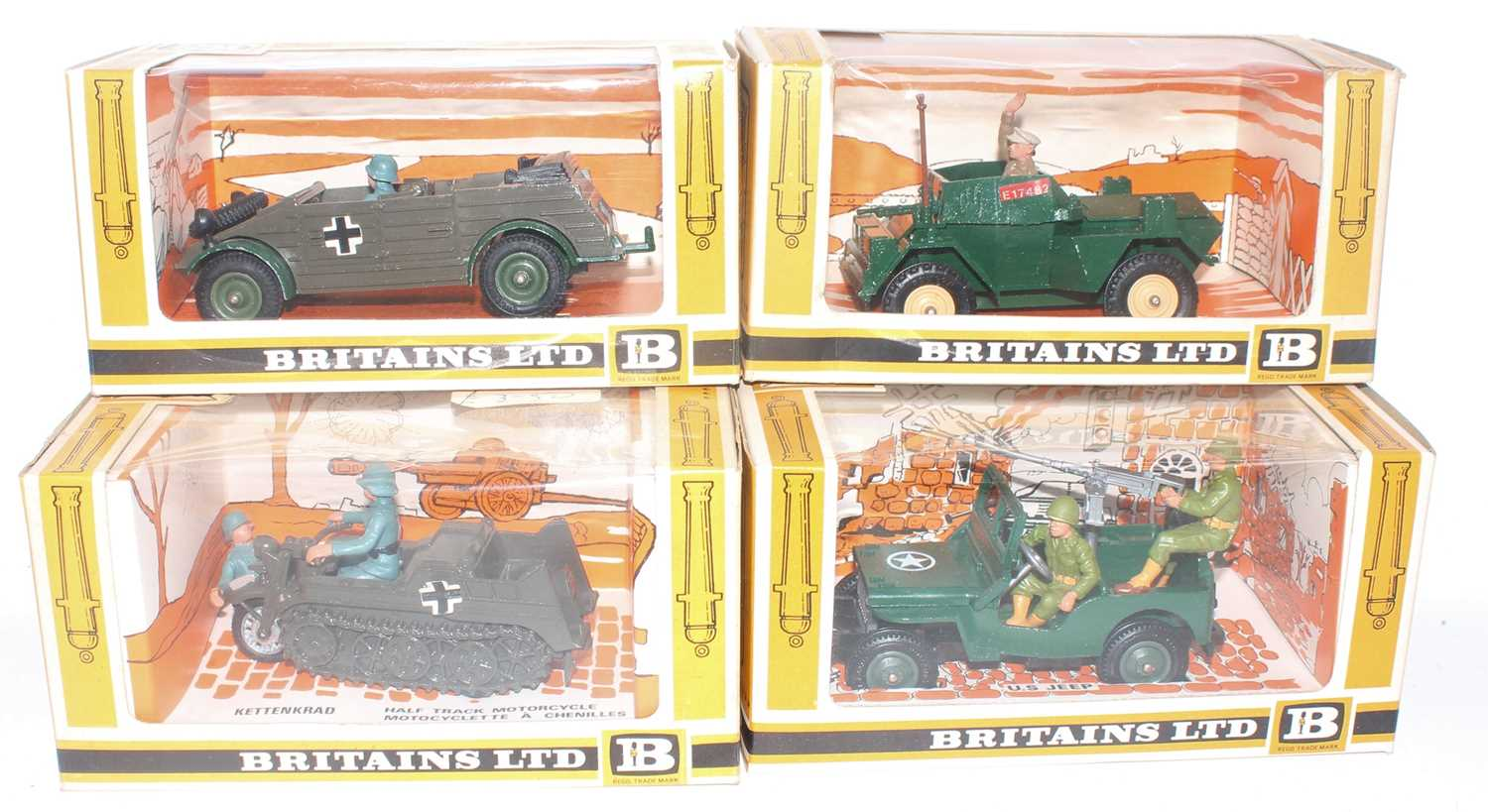 Britains Military Vehicles Boxed Group, 4 examples, all ex-shop stock, to include 9780 Kettenkrad,