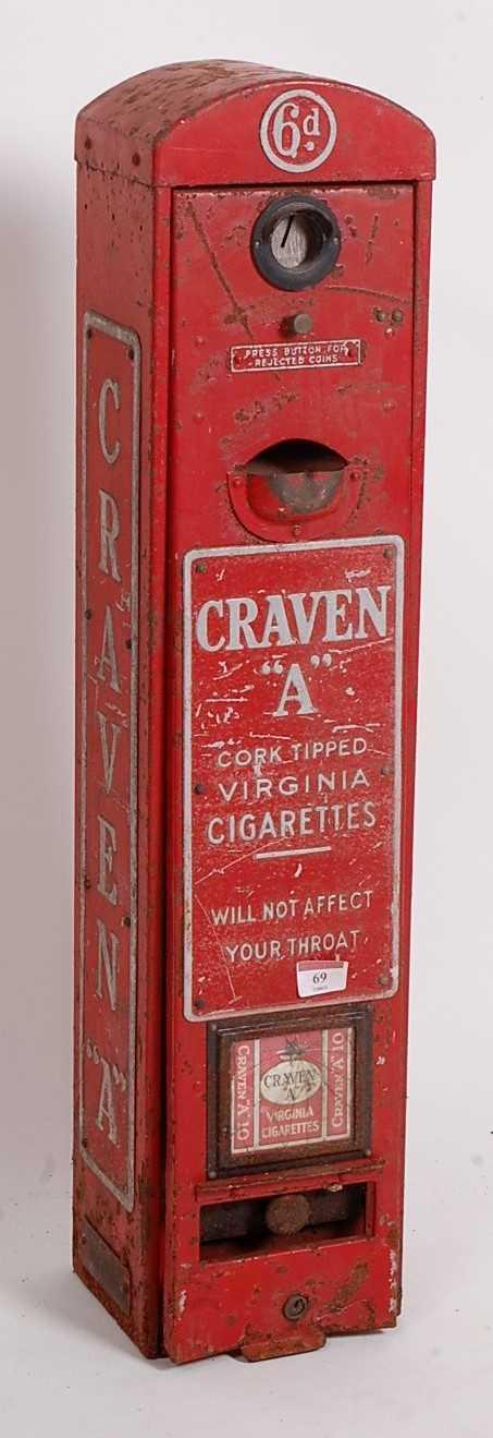 Original Circa 1930s Craven A Cigarette Dispenser/vending Machine, red and silver, suitable for