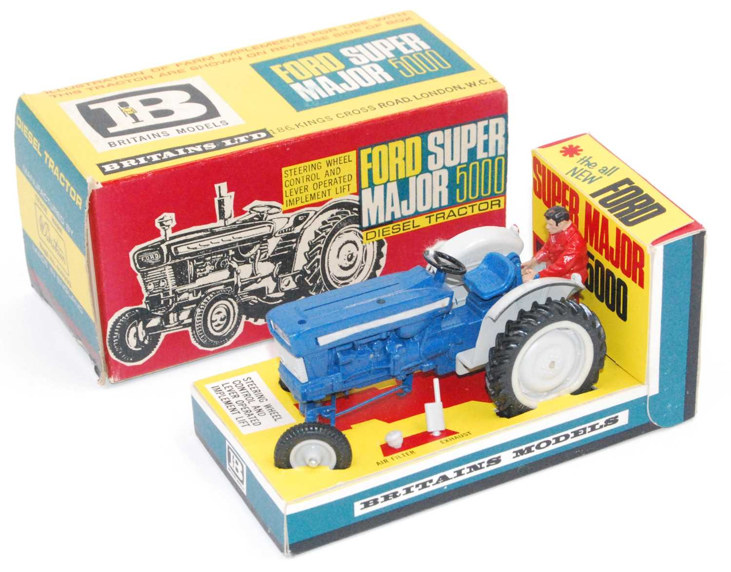 Britains 9527 Ford Super Major 5000 Diesel tractor in blue with figure complete with air filter