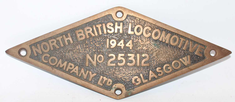 Reproduction brass North British Locomotive Works Plate, 1944, No.25312, diamond