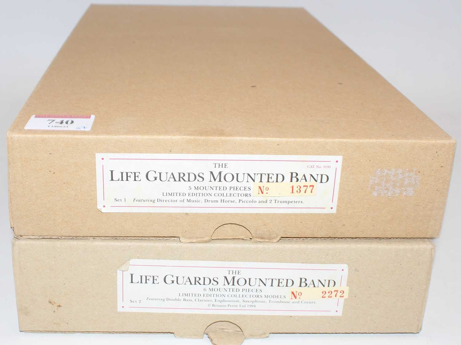 A Britains modern release limited edition lifeguards mounted band gift set group, two examples to