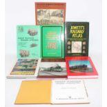 Eight railway books (E). Bias towards GWR and a copy of Jowett's Railway Atlas.