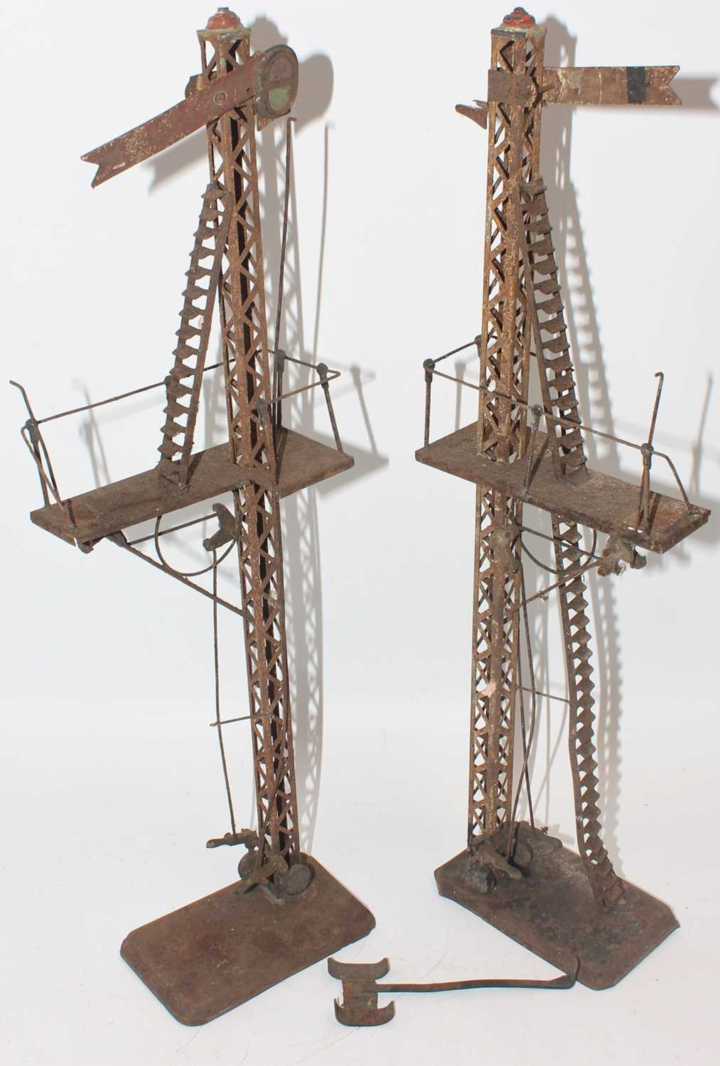 """Two continental style, make unidentified lattice post signal 17"""" tall. Probably for gauge 2. Both"""