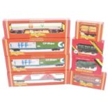 Ten Hornby goods wagons:- R669 Shell-BP 100 ton tank, R035 freightliner with containers, 2 x R036