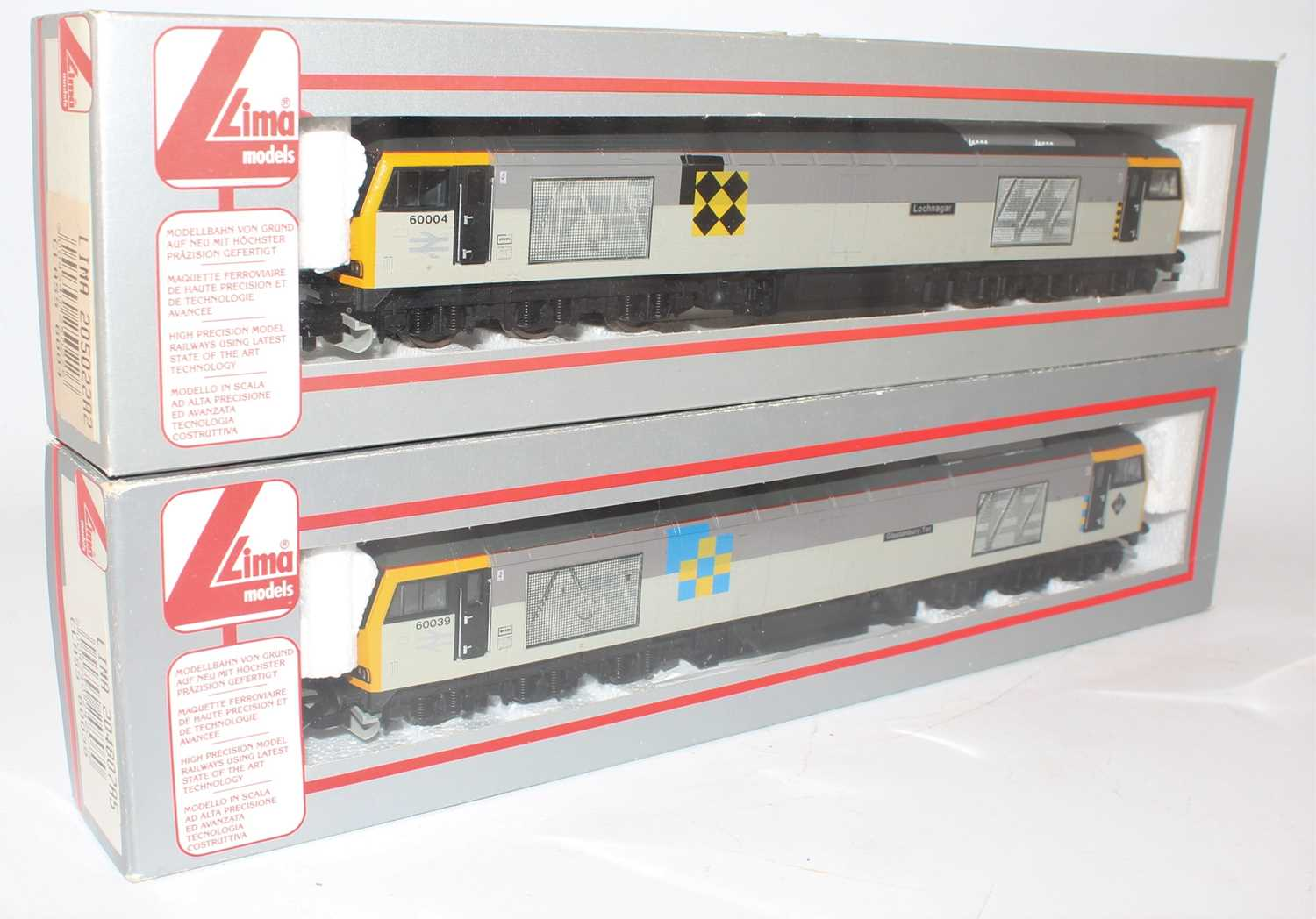 A Lima 00 gauge Class 60 Railfreight diesel locomotive group to include No. 205022 Railfreight