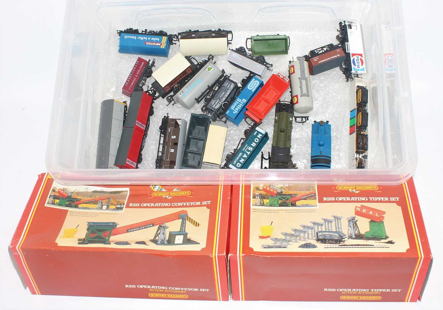 Two boxes containing a quantity of loose and boxed Hornby OO Gauge locomotives, rolling stock and