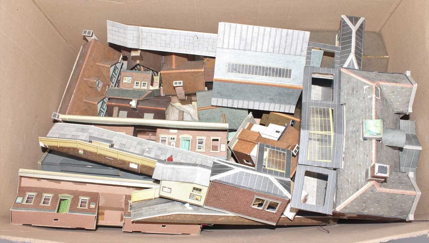 Large box of card assembled kits Superquik mainly railway related