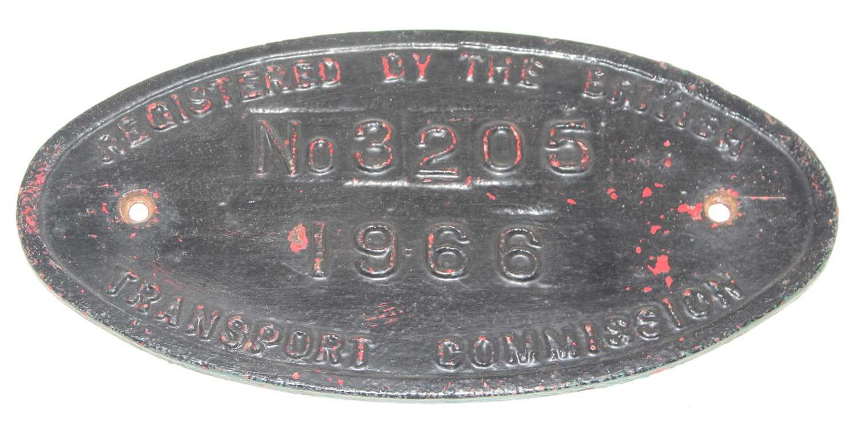British Transport Commission Registration Plate, No.3205, 1966, over painted, measurements 30cm x