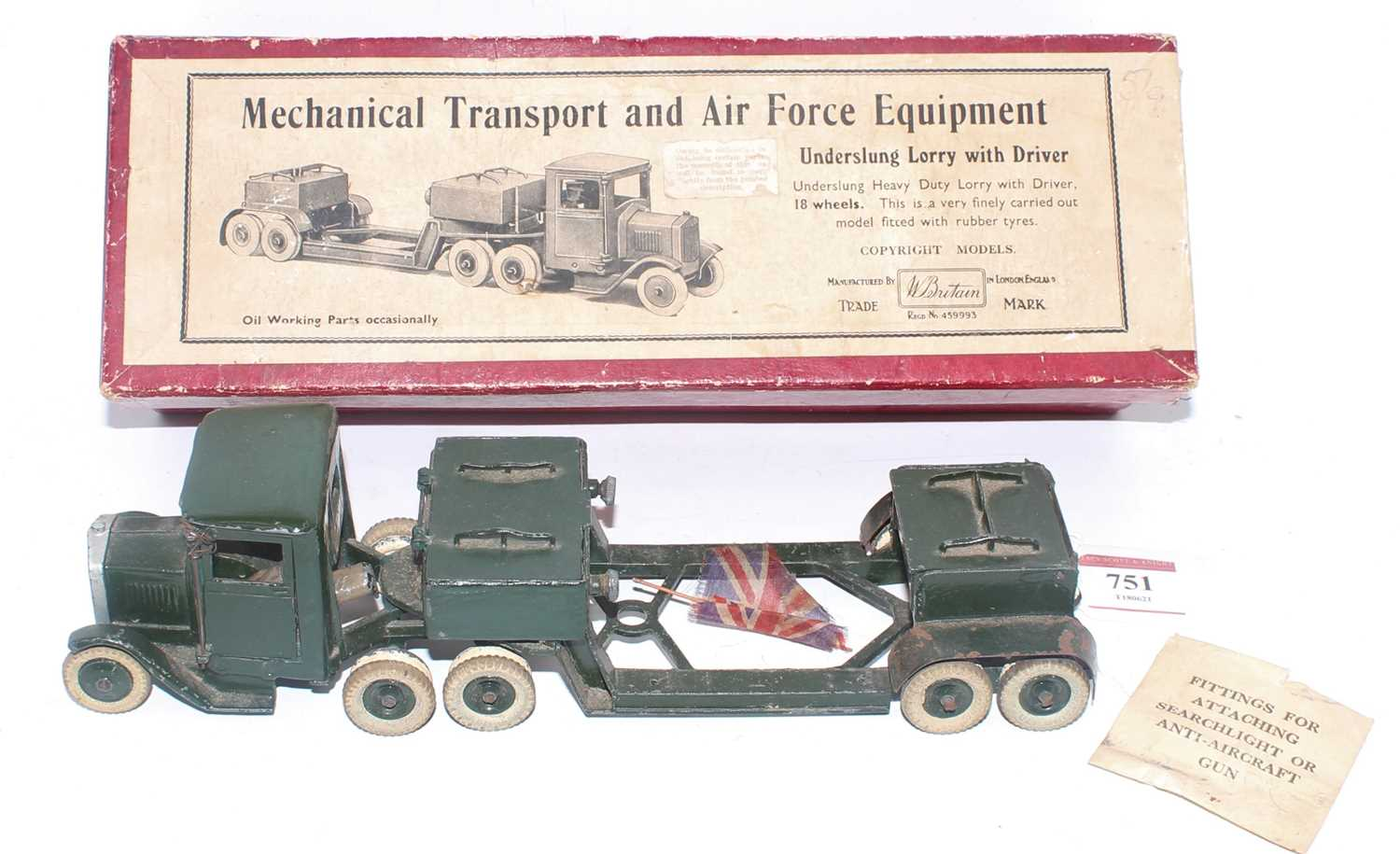 A Britains military series no. 1641 underslung lorry with driver comprising of dark green body