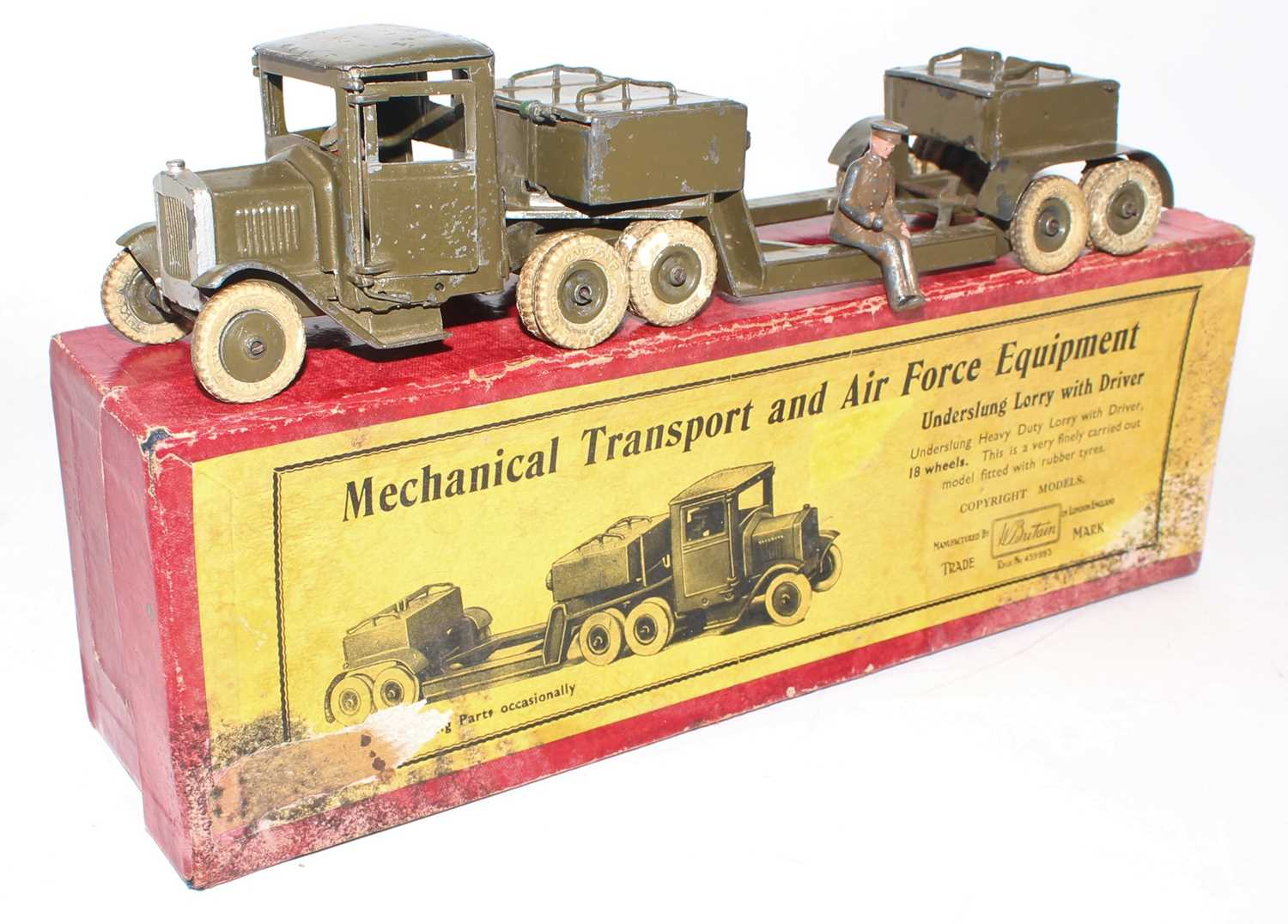 Britains Set No.1641 Underslung Lorry, 1940s example, comprising of square nose 10-wheel Tractor