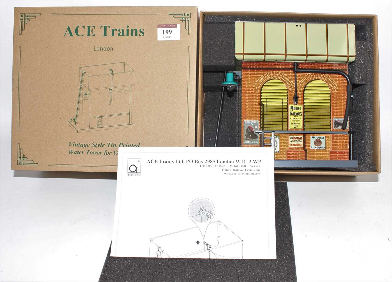 ACE Trains vintage style tin printed water tower for O gauge with working lamp (M-BM)
