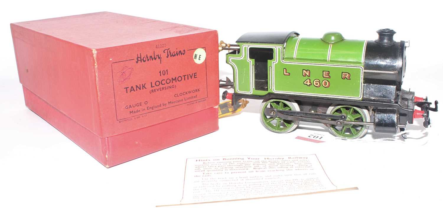 1947-54 Hornby No. 101 0-4-0 clockwork tank loco LNER 460 lined green, Brunofix rods, small - Image 2 of 2