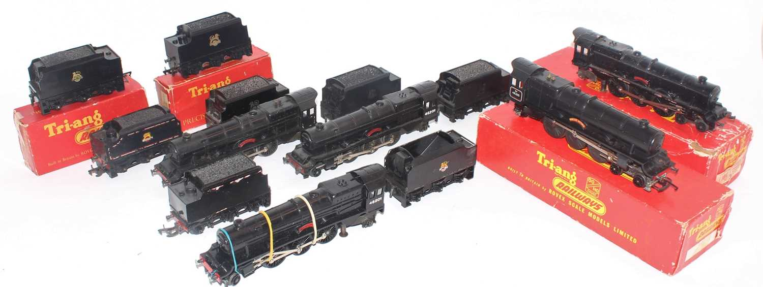 """Five Triang """"Princess"""" class 4-6-2 locos and tenders:- Princess Elizabeth with roller pick ups,"""