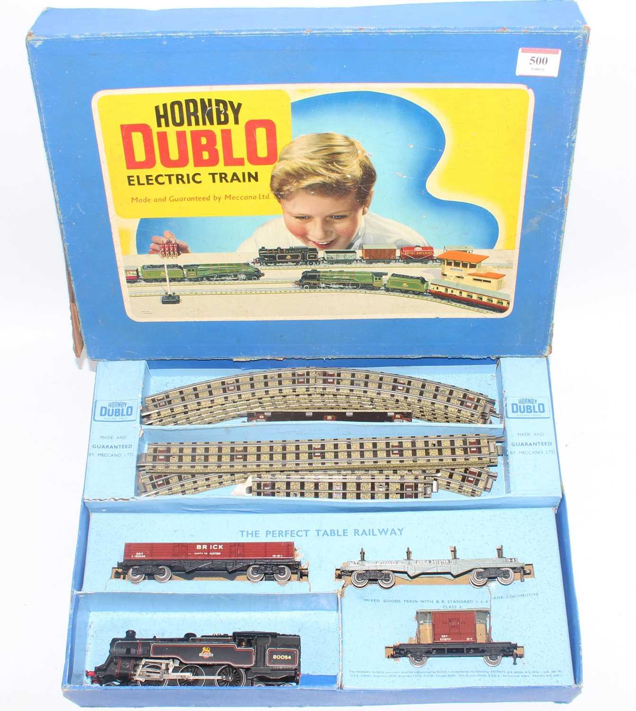 Hornby Dublo 3-rail EDG18 2-6-4 tank goods set comprising BR80054 loco brick wagon, bogie bolster