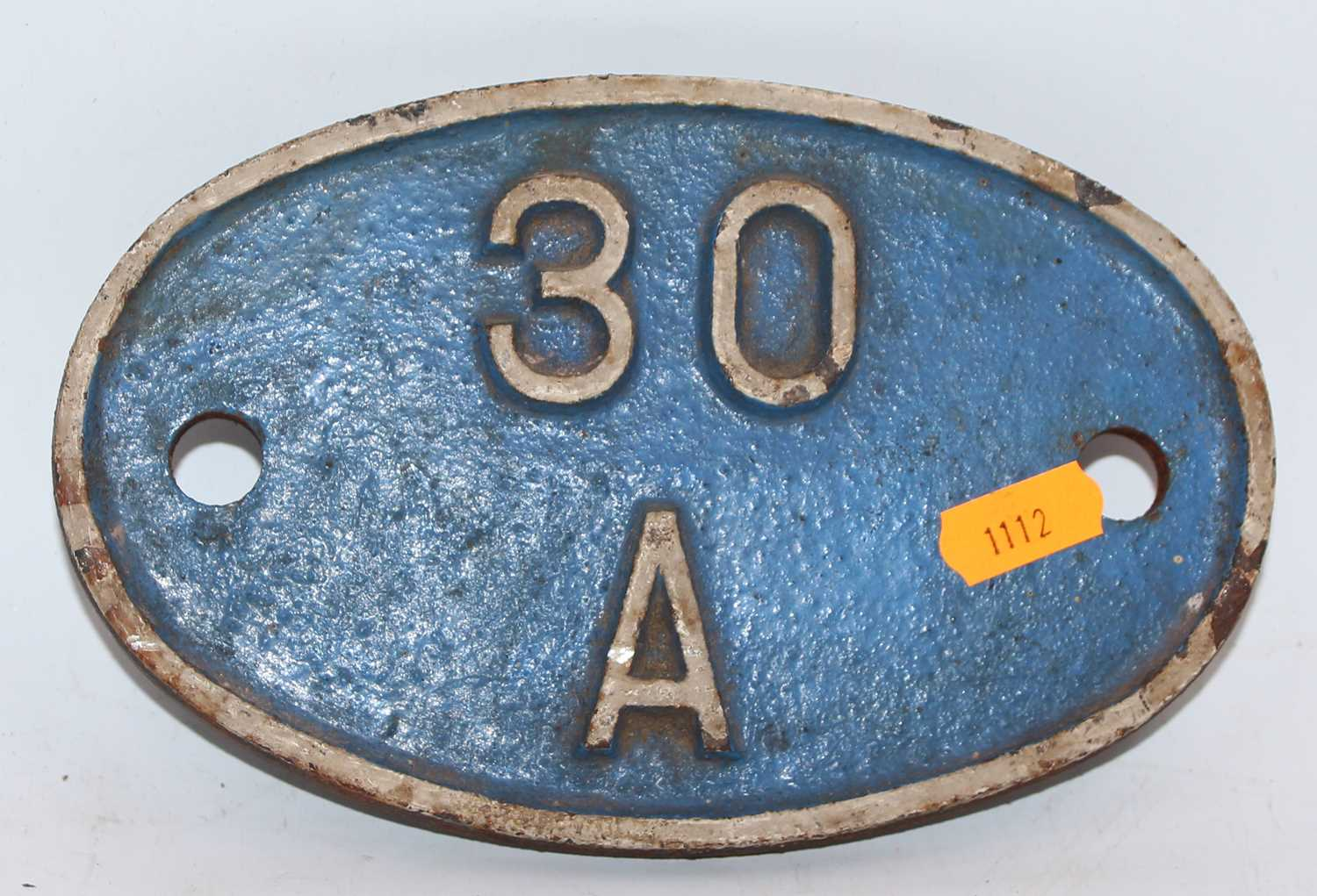 Original Shed Plate, 30a, Stratford, white on blue