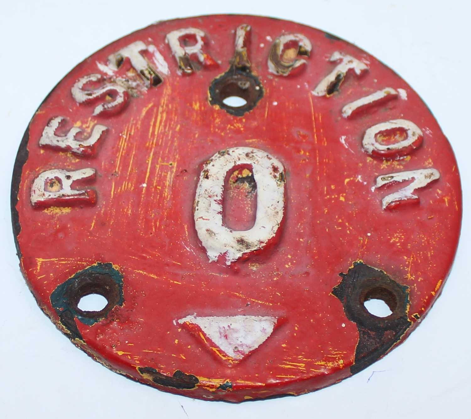 Ransomes Cast Iron Crane Restriction Signs, 2 examples, identical, measurements 11cm diameter - Image 2 of 2