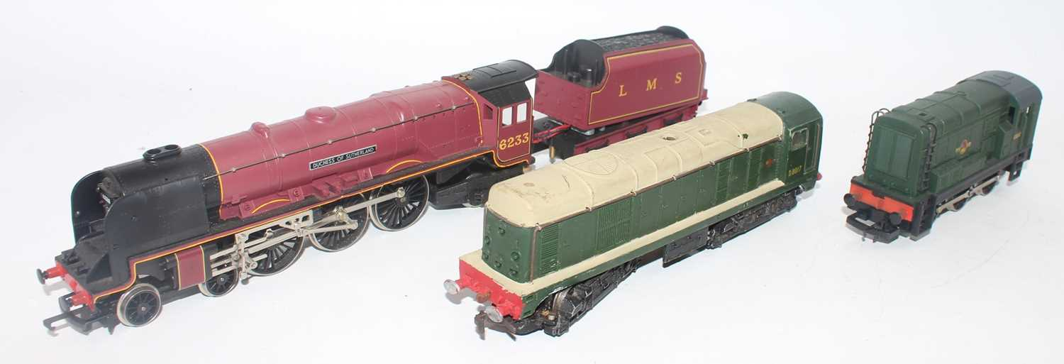 Three locos:- Hornby Duchess of Sutherland with tender, appears to have extra wiring between