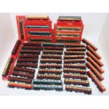 Large box containing approx 50 Triang/Hornby coaches, 27 x maroon & cream, 7 x plain maroon, 3 x